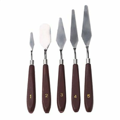 5PCS Stainless Spatula Oil Painting Wooden Handle Palette Knife Set Artist Tools