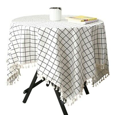 Modern Simple Tablecloth Linen Style Camping Picnic Mat Table Cover With Tassel
