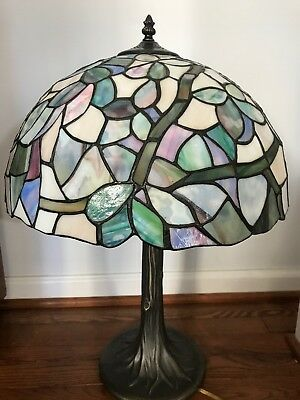 """Vintage Tiffany Style  Stained Glass  Slag Tree Table Lamp 24"""" Tall MINT!"""