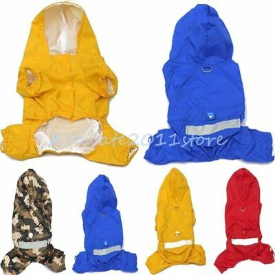 Dog Coat Waterproof Jacket Raincoat Suit Small Large Reflective Rainwear S- XXL