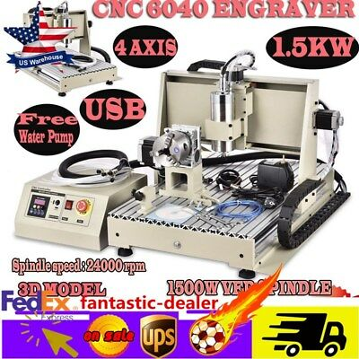 USB 4 Axis CNC 6040 Router Engraver Milling Machine Engraving Drilling 1500w cut