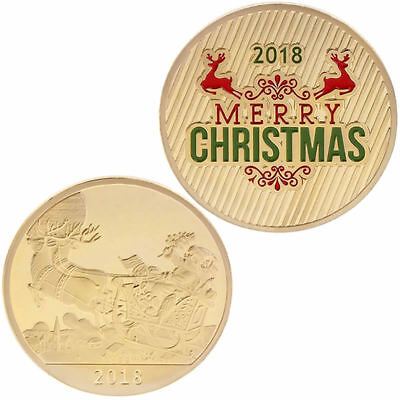 Christmas Commemorative Coin Santa Claus Deer New Year Collection Souvenir Craft