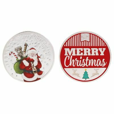 Christmas Commemorative Coin Santa Claus Present Souvenir New Year Gifts Silver