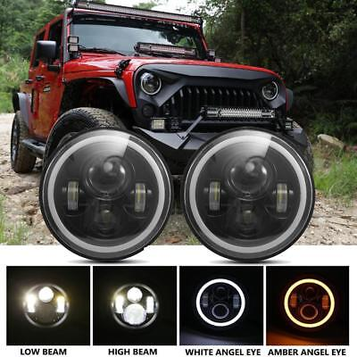 2x7 Inch Round LED Headlights Halo Angel Eyes for 1997-2018 Jeep Wrangler JK JKU