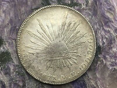 REPUBLIC OF MEXICO 8 REALES SILVER 1873 Zs YH ZACATECAS MINT
