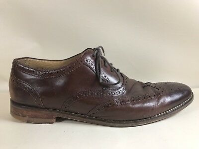 Cole Haan Cambridge Wing Men Distressed Leather Wingtip Brogue Oxfords Dk Yellow