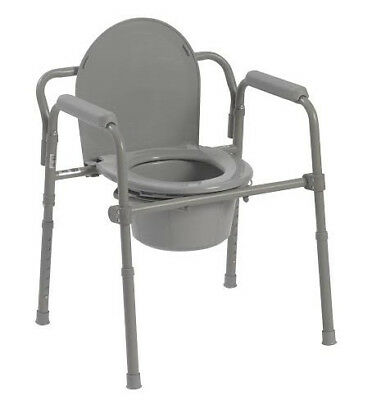 Drive Medical Folding Steel Bedside Commode - Grey