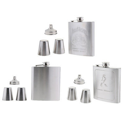 Pocket Hip Flask Set, Stainless Steel 7oz Flask/2 Cups/Funnel Alcohol Liquor