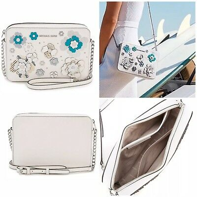 a38aab3d28375a NWT Michael Michael Kors Jet Set Floral Embellished White Leather Crossbody  Bag