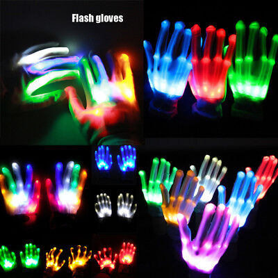 Pair Rainbow Flow LED Light Flashing Gloves Rave Party Glow Games Night fun