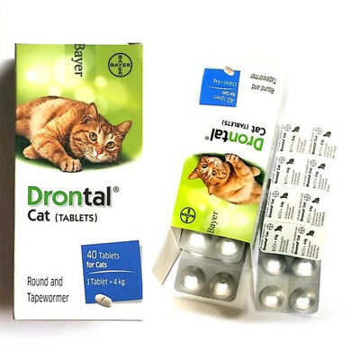 NEW Drontal for Cats Kitten 4 Tablets Tapeworm Dewormer Roundworm Bayer
