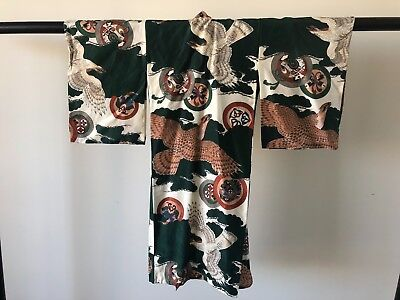 Vintage Japanese Child's Silk Kimono Hand Made Authentic One of a Kind Old Kyoto