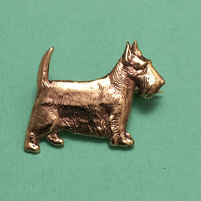 Gorgeous Scottish Terrier Brooch Gold Scotty Dog Pin Scottie Love Memory Gift