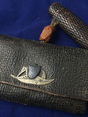 Antique Japanese Leather Tobacco Pouch And Pipe Case Bot Menuki Peach Pit Ojime