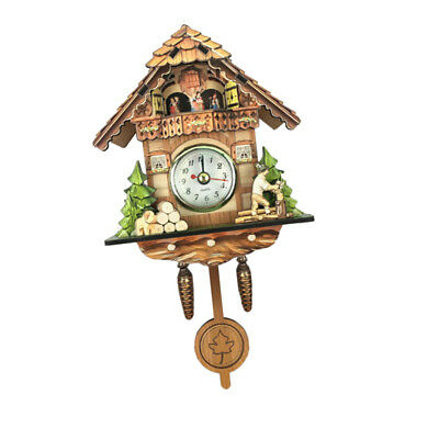 Retro Vintage Style Wall Clock Hanging Handcraft Wooden Cuckoo Clock C
