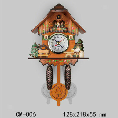 Retro Vintage Style Wall Clock Hanging Handcraft Wooden Cuckoo Clock F