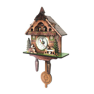 Retro Vintage Style Wall Clock Hanging Handcraft Wooden Cuckoo Clock I
