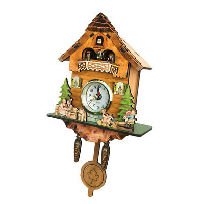 Retro Vintage Style Wall Clock Hanging Handcraft Wooden Cuckoo Clock B