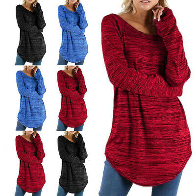 Women Long Sleeve Round Neck Shirt Ladies Casual Winter Tops Blouse Plus Size