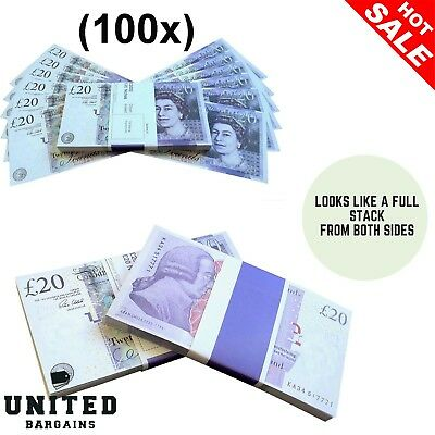 100x 20 Notes Realistic UK Pounds Movie Prop Money Look Like Real Stacks Fake GB