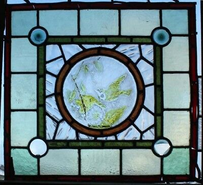 Victorian English Painted Bird Antique Stained Glass Window