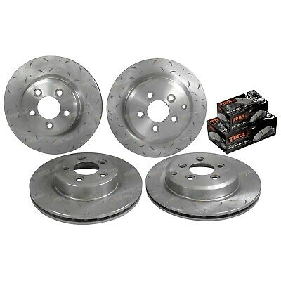 Front & Rear Slotted & Dimpled Rotors + Brake Pads suits Ford Falcon BF FG 05~12