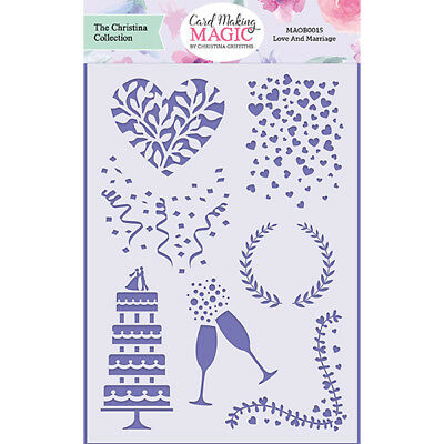 Card Making Magic Stencil Love & Marriage 5in x 7in by Christina Griffiths