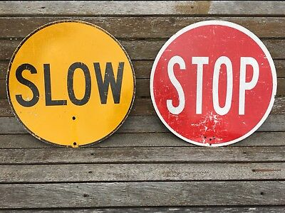 2x COLLECTABLE *SLOW* & *STOP* TRAFFIC SIGNAL METAL/TIN SIGNS, DOUBLE SIDED .99c