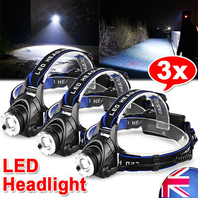 3X LED Headlamp Rechargeable Head Bike light Torch Zoomable CREE 21000LM XML T6