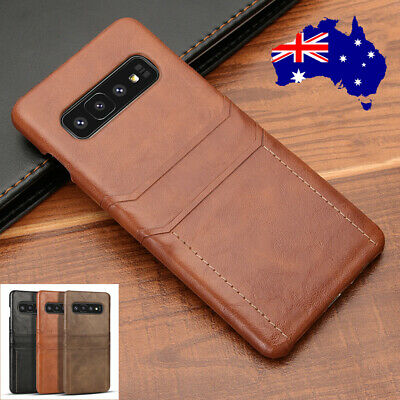 For Samsung Galaxy S10+ Note 9 S8 S9 Plus Slim Leather Back Card Slot Case Cover