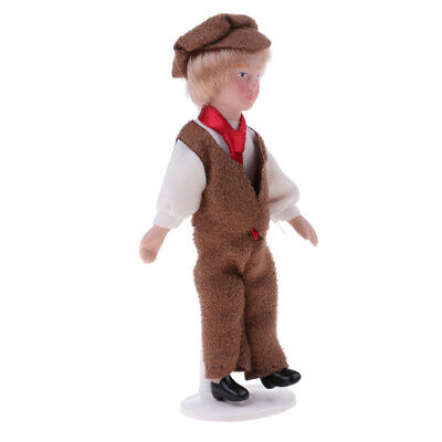 1/12 Porcelain Doll Man in Vest Trousers Outfit Dollhouse Miniature People