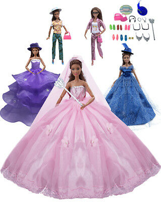 25PCS Barbie Doll Clothes & Accessories Include 5 PCS Party Gown Outfits +20