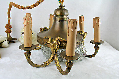 Antique EMPIRE french bronze ram heads chandelier glass drop pearls rare 1935