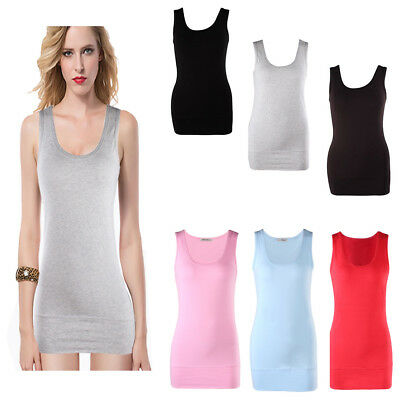 Moxeay Womens Casual Basic Simple Extra Long Tank Tops Vest Camisole Singlet New