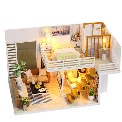 Miniature DIY 3D Wooden Dollhouse W/ LED Light/Dust Cover 2 Levels for Kids Gift