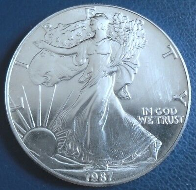 USA 1987 One Dollar Eagle, 1 troy ounce of pure silver + capsule - top grade
