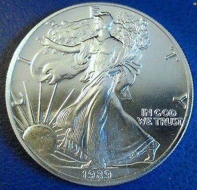USA 1989 One Dollar Eagle, 1 troy ounce of pure silver + capsule - top grade
