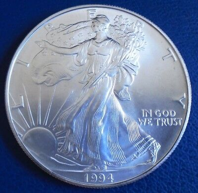 USA 1994 One Dollar Eagle, 1 troy ounce of pure silver + capsule - top grade