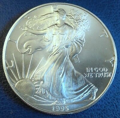 USA 1995 One Dollar Eagle, 1 troy ounce of pure silver + capsule - top grade