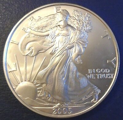 USA 2005 One Dollar Eagle, 1 troy ounce of pure silver + capsule - top grade