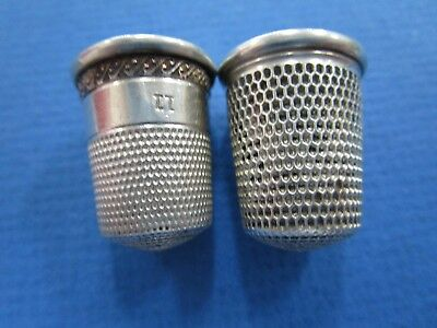 2 x Sterling Silver ladies Thimbles