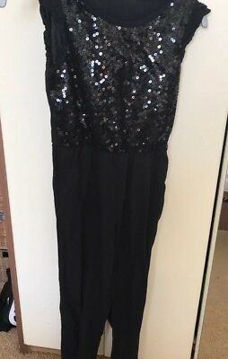 Girls Black Sequined Jumpsuit H&M Age 7-8 Halloween Party Xmas