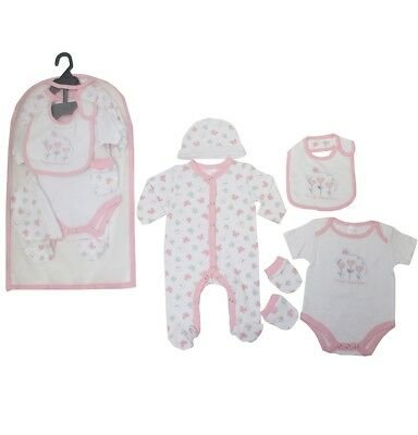 Baby Girl 5 Piece Gift Layette Set - Baby Clothes - NB to 6 months
