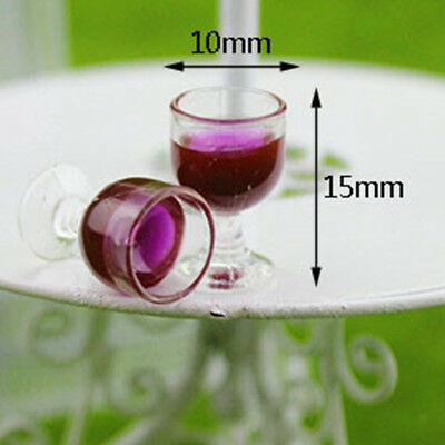 10 Pieces 1/12 Dollhouse Miniature Wine Glasses Goblet Room Accessory Red