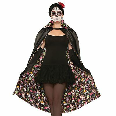 Day Of The Dead Cape Unisex Sugar Skull Cape Gothic Halloween Fancy Dress