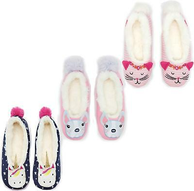 Joules DREAMA Girls Unicorn/Cat/Buldog Character Novelty Fleecey Lined Slippers