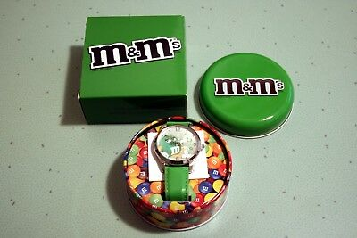 M & M Green Fun Watch New w Original Box and Tin FREE SHIP