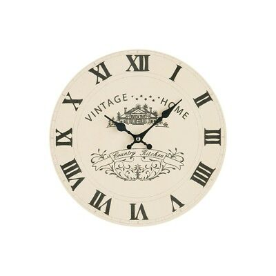 29cm Vintage Cream Clock Wall Mountable Retro Style Antique Black Hands Timer