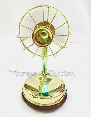 Vintage Brass Chargeable Gifting Running Mini Fan Toy Home Decor