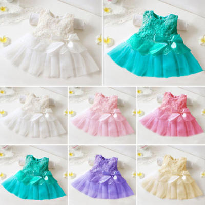 Baby Girl Tutu Tulle Dress Princess Party Lace Flower Dresses Wedding Bow Knot